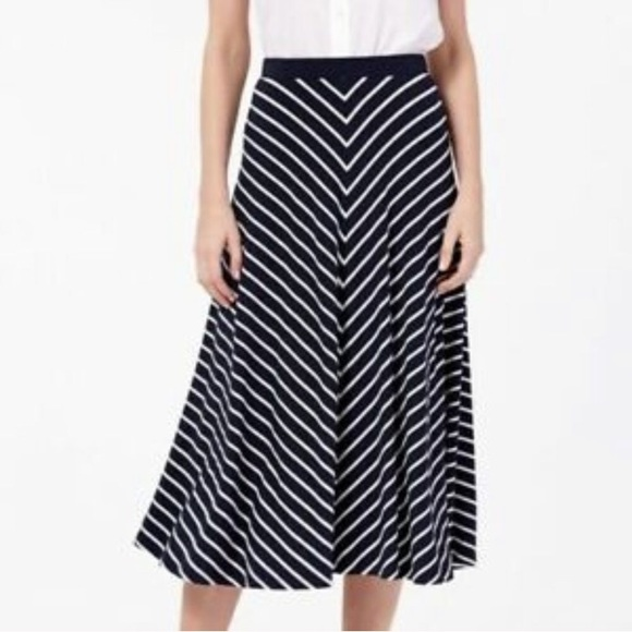 Boden Sabrina Navy Blue Striped Midi Skirt 12L